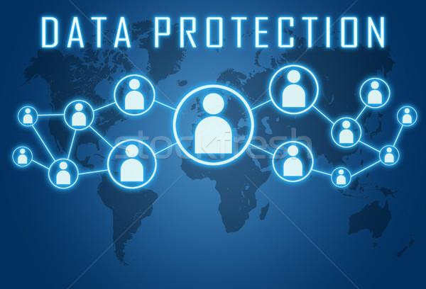 データ保護 青 世界地図 社会 アイコン コンピュータ ストックフォト © Mazirama