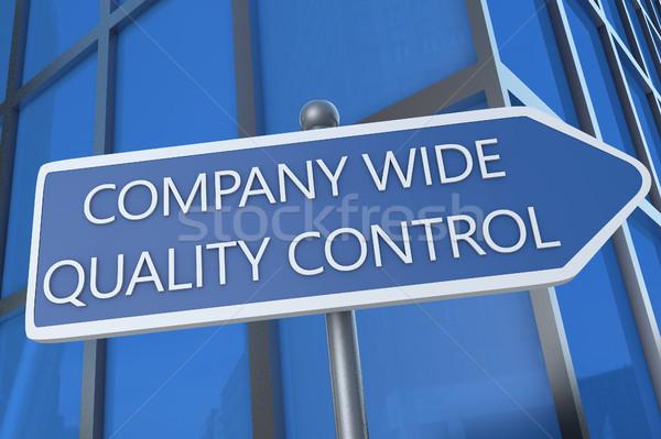 Bedrijf breed kwaliteitscontrole illustratie straat teken kantoorgebouw Stockfoto © Mazirama