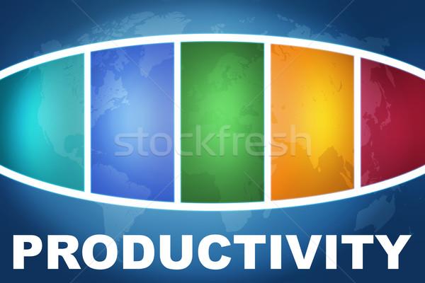 Produktiviteit tekst illustratie Blauw kleurrijk wereldkaart Stockfoto © Mazirama
