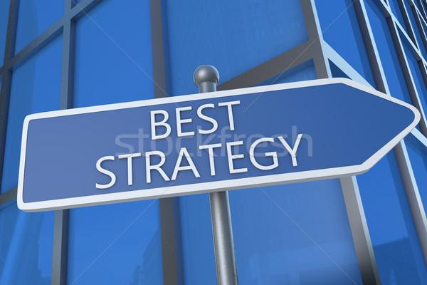 Meilleur stratégie illustration signe de rue immeuble de bureaux succès Photo stock © Mazirama