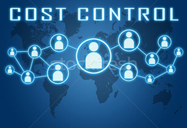 Costo control azul mapa del mundo social iconos Foto stock © Mazirama