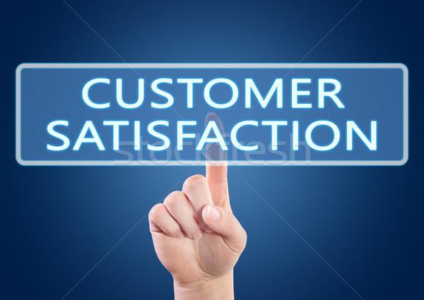 Satisfacción del cliente mano botón interfaz azul Foto stock © Mazirama