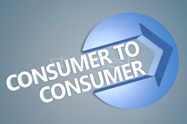 Consumatore testo rendering 3d illustrazione arrow cerchio Foto d'archivio © Mazirama