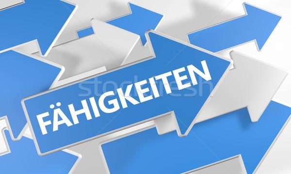Woord vaardigheden vermogen competentie 3d render Blauw Stockfoto © Mazirama