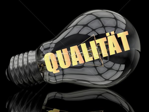 Parola qualità lampadina nero testo rendering 3d Foto d'archivio © Mazirama