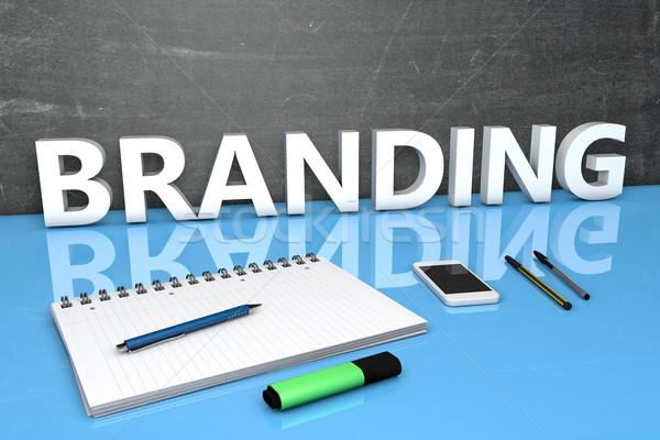 Branding tekst Tablica notebooka długopisy telefonu komórkowego Zdjęcia stock © Mazirama