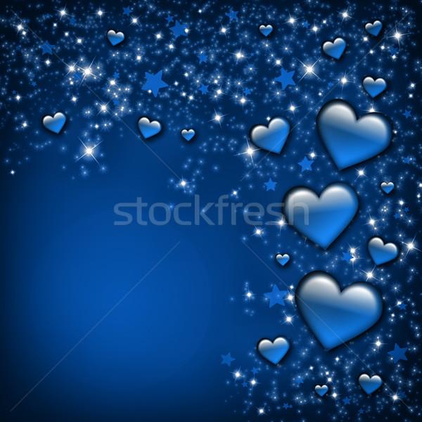 Valentin nap kártya kék szívek csillagok szeretet Stock fotó © Mazirama