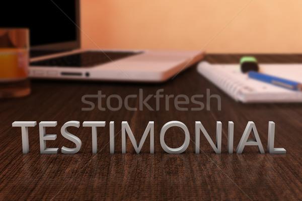 Levelek fából készült asztal laptop számítógép notebook 3d render Stock fotó © Mazirama