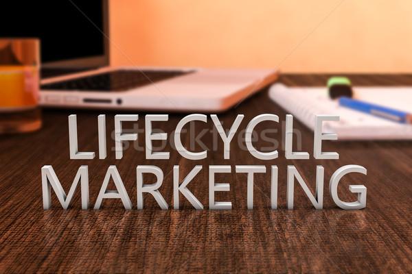 Жизненный цикл маркетинга письма столе портативного компьютера Сток-фото © Mazirama