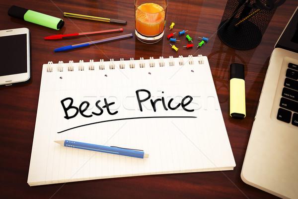 Legjobb ár kézzel írott szöveg notebook asztal 3d render Stock fotó © Mazirama