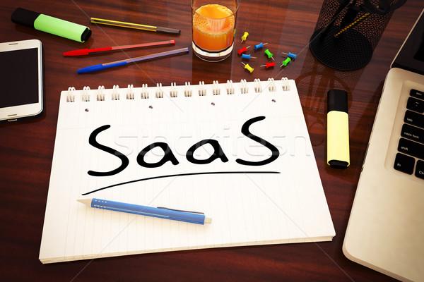 Stock fotó: Szoftver · szolgáltatás · kézzel · írott · szöveg · notebook · asztal
