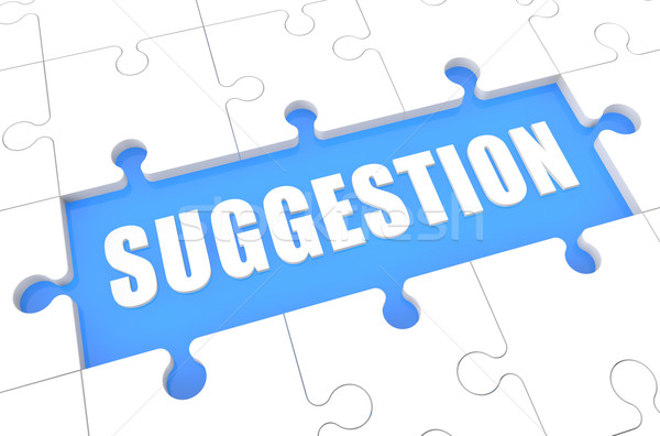 Voorstel puzzel 3d render illustratie woord Blauw Stockfoto © Mazirama