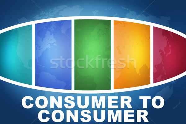 Consumatore testo illustrazione blu colorato mappa del mondo Foto d'archivio © Mazirama