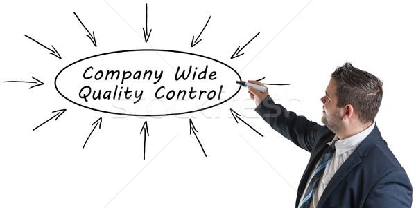 Bedrijf breed kwaliteitscontrole jonge zakenman tekening Stockfoto © Mazirama