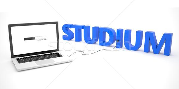 Kelime çalışma dizüstü bilgisayar defter bilgisayar beyaz Stok fotoğraf © Mazirama