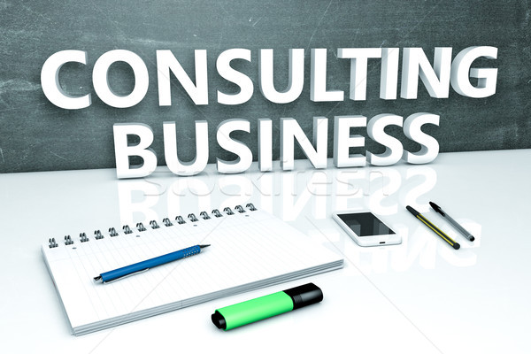 Consulting affaires texte tableau portable stylos Photo stock © Mazirama