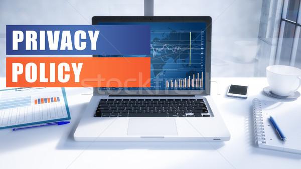 Privatsphäre Politik Text modernen Laptop Bildschirm Stock foto © Mazirama