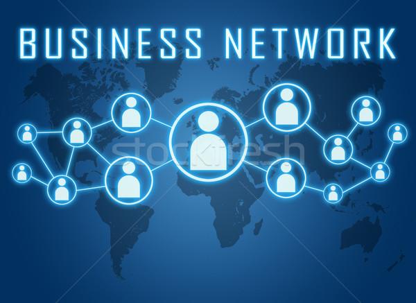 Бизнес-сеть синий Мир карта социальной иконки интернет Сток-фото © Mazirama