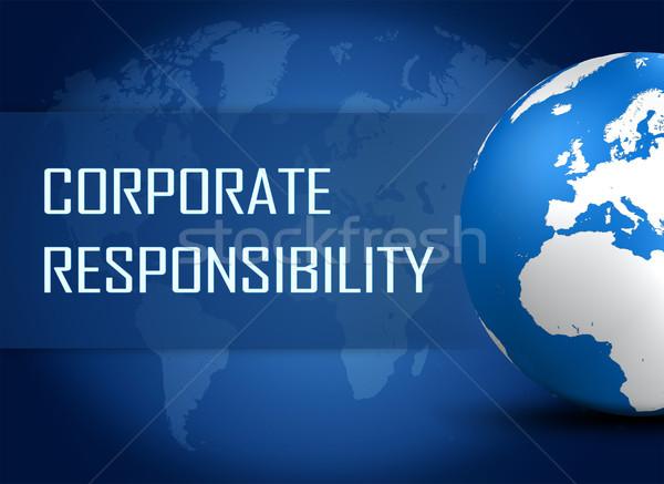 Kurumsal sorumluluk dünya mavi dünya haritası dünya Stok fotoğraf © Mazirama