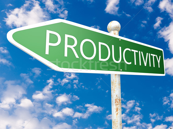 Produtividade placa de rua ilustração blue sky nuvens negócio Foto stock © Mazirama