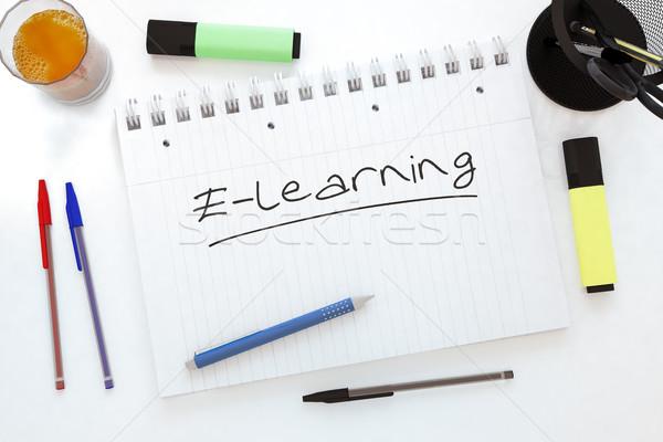 Online oktatás kézzel írott szöveg notebook asztal 3d render Stock fotó © Mazirama