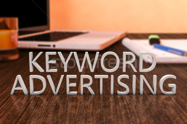 Kelimeler reklam harfler ahşap büro dizüstü bilgisayar Stok fotoğraf © Mazirama