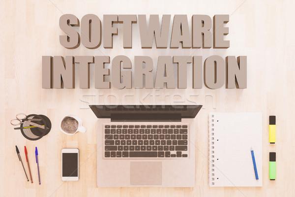 программное интеграция текста ноутбук компьютер смартфон Сток-фото © Mazirama