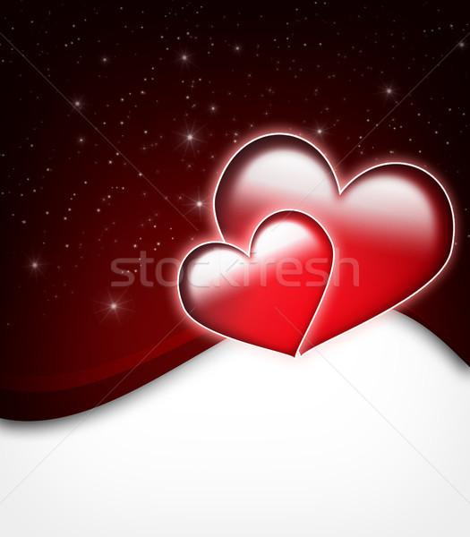 Valentin nap kártya kettő nagy szívek csillagok Stock fotó © Mazirama