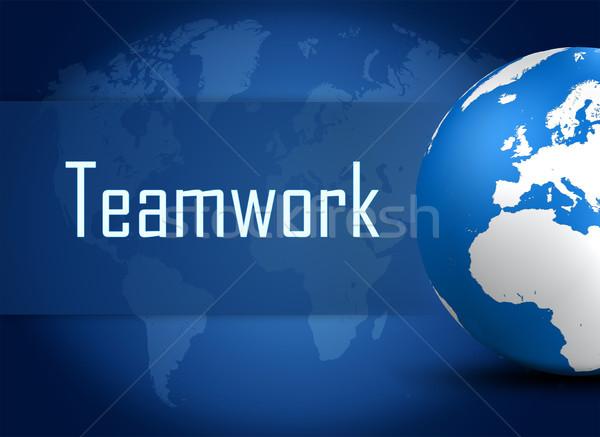 Foto d'archivio: Lavoro · di · squadra · mondo · blu · mappa · del · mondo · ufficio · mondo