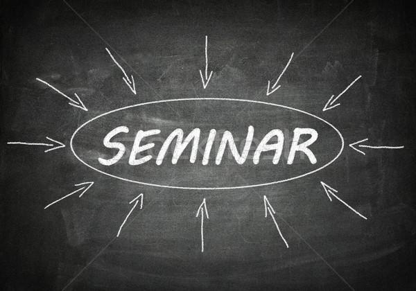 Seminar procede informatie zwarte schoolbord business Stockfoto © Mazirama