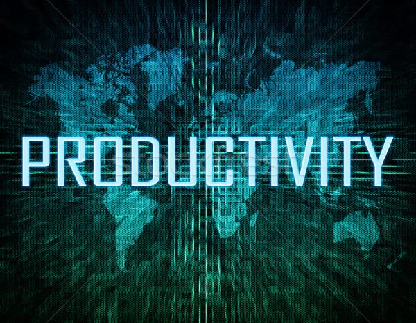 Produktivitás szöveg zöld digitális világtérkép üzlet Stock fotó © Mazirama
