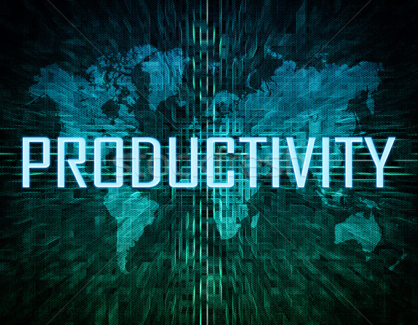 Produktiviteit tekst groene digitale wereldkaart business Stockfoto © Mazirama