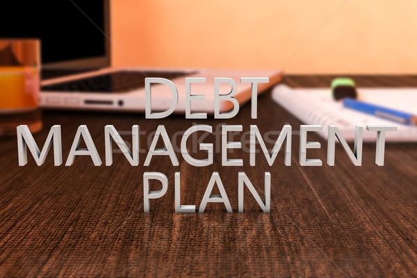 Foto stock: Dívida · gestão · plano · cartas · secretária