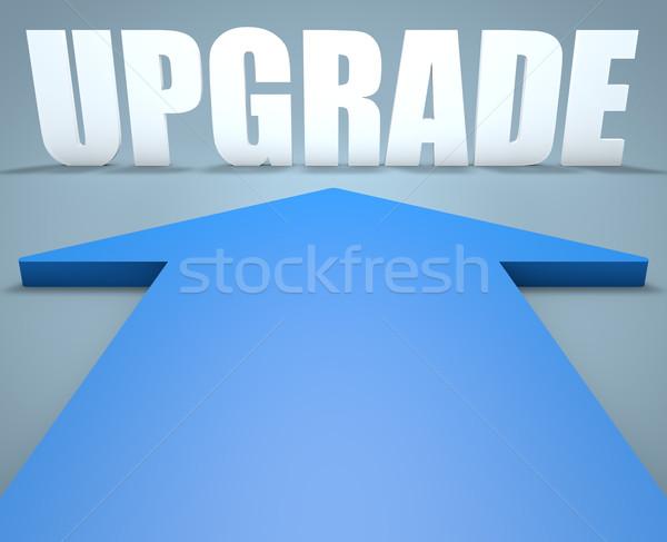 アップグレード 3dのレンダリング 青 矢印 ポインティング ビジネス ストックフォト © Mazirama