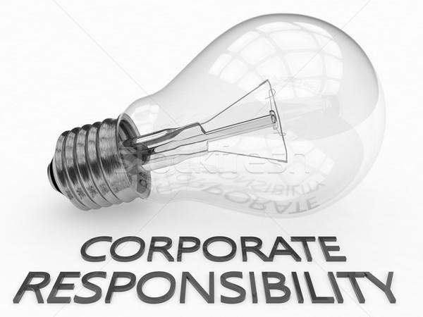 Kurumsal sorumluluk ampul beyaz metin 3d render Stok fotoğraf © Mazirama