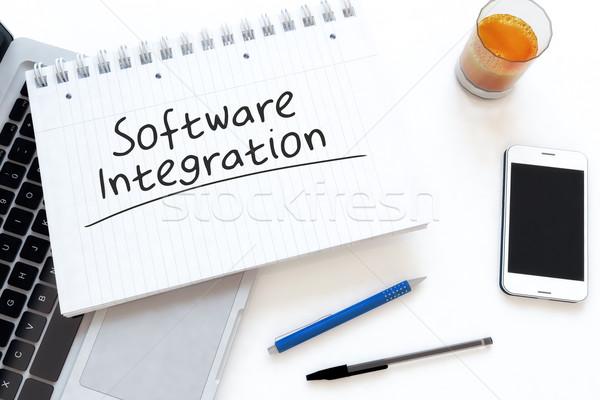 программное интеграция текста ноутбук столе Сток-фото © Mazirama