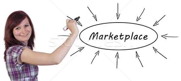 Piactér fiatal üzletasszony rajz információ tábla Stock fotó © Mazirama