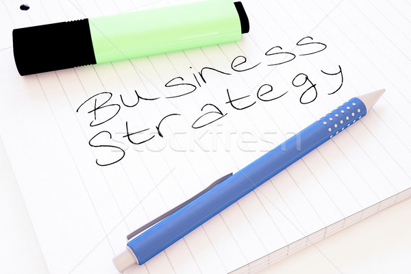 Strategia biznesowa tekst notebooka biurko 3d Zdjęcia stock © Mazirama