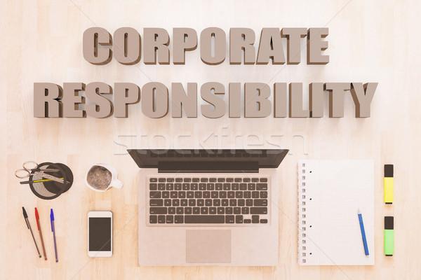 Korporacyjnych odpowiedzialność tekst notebooka komputera smartphone Zdjęcia stock © Mazirama