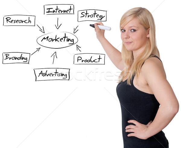Marketing diagram üzletasszony ír tábla oktatás Stock fotó © Mazirama