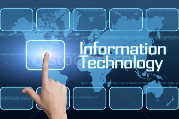 Tecnologia da informação interface mapa do mundo azul negócio computador Foto stock © Mazirama