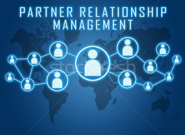 Socio relación gestión texto azul mapa del mundo Foto stock © Mazirama