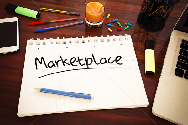 Piactér kézzel írott szöveg notebook asztal 3d render Stock fotó © Mazirama