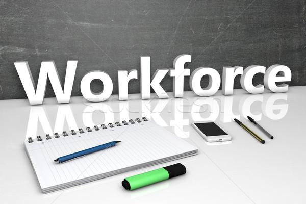 Forza lavoro testo lavagna notebook penne cellulare Foto d'archivio © Mazirama