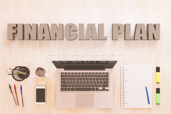 Financial Plan text concept Stock photo © Mazirama