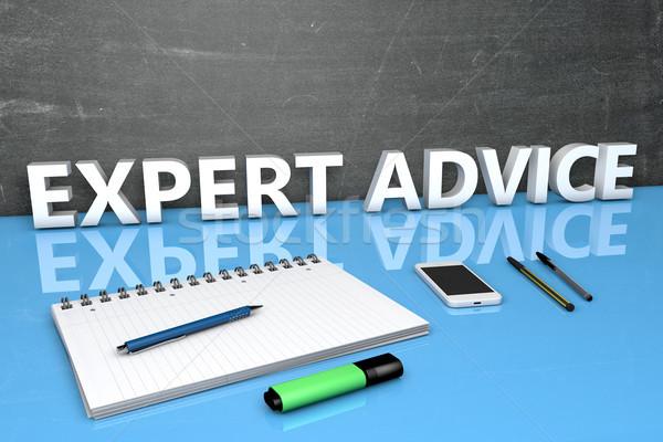 Szakértő tanács szöveg tábla notebook tollak Stock fotó © Mazirama