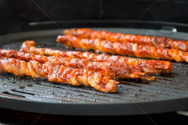 Et en iyi kesmek ızgara parti yangın Stok fotoğraf © Mazirama