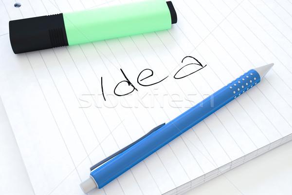 Идея текста ноутбук столе 3d визуализации Сток-фото © Mazirama