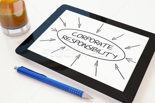 Corporate Verantwortung Text mobile Tablet-Computer Schreibtisch Stock foto © Mazirama