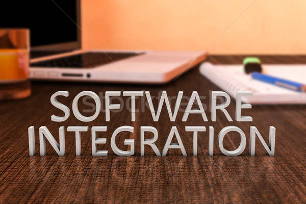 Logiciels intégration lettres bois bureau ordinateur portable Photo stock © Mazirama